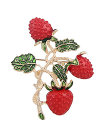 Fashion Red+green Strawberry Shape Decorated Pure Color Brooch