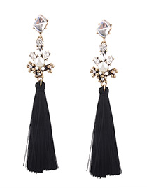 Fashion Black Diamond Decorated Tassel Pure Color Earrings