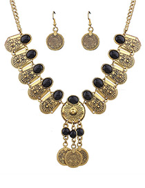 Vintage Antique Gold+black Coin Shape Decorated Pure Color Jewelry Set