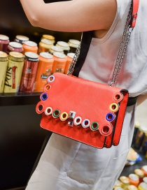 Fashion Red Square Shape Decorated Hollow Out Shoulder Bag