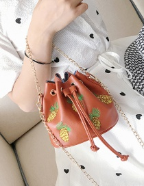 Fashion Brown Pineapple Pattern Decorated Pure Color Shoulder Bag