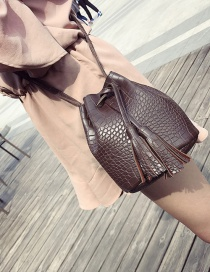 Vintage Brown Tassel Decorated Pure Color Shoulder Bag