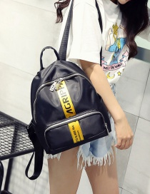 Fashion Yellow+black Letter Pattern Decorated Pure Color Backpack