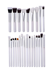 Fashion White Pure Color Decorated Brush (25pcs)