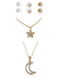 Fashion Gold Color Diamond Decorated Moon&flower Shape Simple Necklace