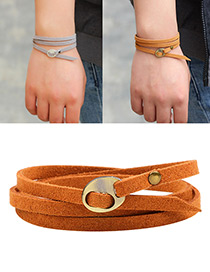 Fashion Coffee+gold Color Rivet Decorated Multi-layer Pure Color Bracelet