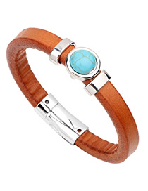 Fashion Orange+blue Circular Ring Shape Decorated Pure Color Bracelet