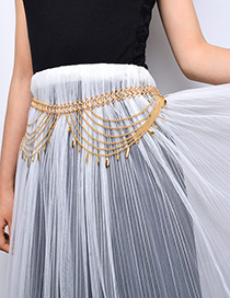 Fashion Gold Color Tassel Decorated Pure Color Waist Chain