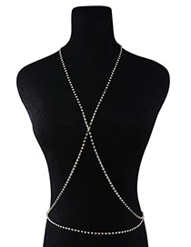 Fashion Silver Color Diamond Decorated Cross Design Body Chain