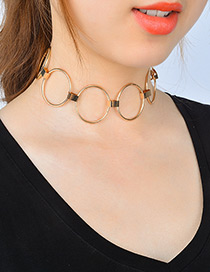 Fashion Gold Color Circular Ring Decorated Pure Color Choker