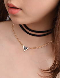 Fashion Gold Color Triangel Shape Decorated Multi-layer Necklace