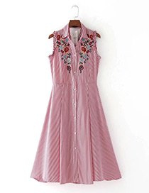 Trendy Red Embroidery Flower Decorated Sleeveless Dress
