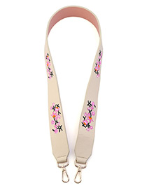 Fashion White Embroidery Flower Decorated Pure Color Bag Strap