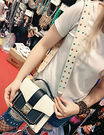 Fashion White Rivets Decorated Simple Width Bag Strap