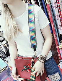 Fashion Multi-color Color Matching Decorated Simple Bag Strap