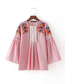 Fashion Pink Embroidery Flower Decorated Long Sleeves Blouse