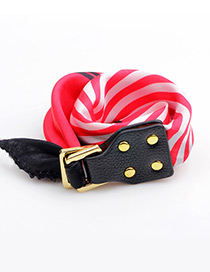 Trendy Red Buckle&rivet Decorated Simple Bracelet