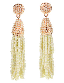 Vintage Beige Beads Decorated Tassel Design Long Earrings