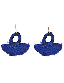 Trendy Dark Blue Tassel Decorated Round Shape Simple Earrings