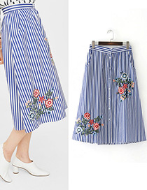 Fashion White+blue Embroidery Flower Decorated Stripe Skirt
