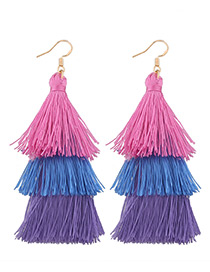 Fashion Pink+purple+blue Tassel Decorated Color Mathing Simple Earrings