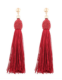 Fashion Red Tassel Decorated Simple Earrings