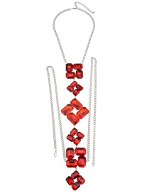 Fashion Red Diamond Decorated Simple Body Chain