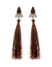 Elegant Brown Oval Shape Diamond Decorated Tassel Earrings