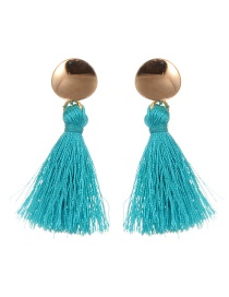 Fashion Light Green Round Shape Decorated Tassel Earrings