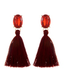 Fashion Claret-red Oval Shape Decorated Tassel Earrings