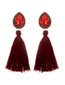 Elegant Claret-red Waterdrop Shape Decorated Tassel Earrings