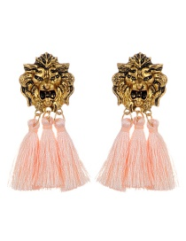 Personality Light Pink Lion Shape Decorated Tassel Earrings