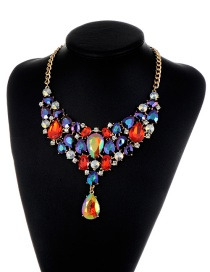 Elegant Red Waterdrop Shape Decorated Necklace