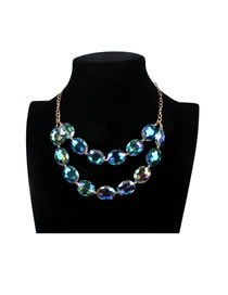 Luxury Green Round Shape Decorated Double Layer Necklace