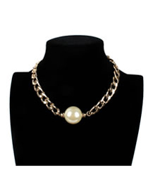 Vintage White Pure Color Decorated Necklace