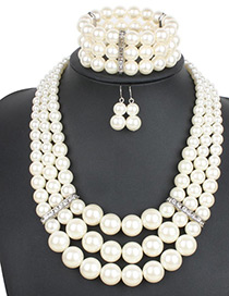 Exaggerate Beige Round Shape Diamond Decorated Jewelry Sets (With Bracelet)
