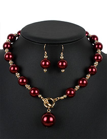 Personality Claret-red Hollow Out Round Shape Decorated Jewelry Sets
