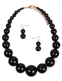 Exaggerate Black Big Round Shape Decorated Jewelry Sets