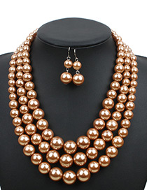 Elegant Coffee Pure Color Decorated Jewelry Sets