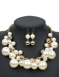 Fashion White Color-matching Decorated Jewelry Sets