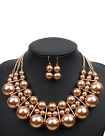 Elegant Gold Color Pure Color Decorated Jewelry Sets