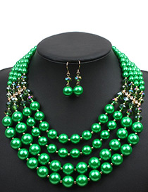 Elegant Green Pure Color Decorated Short Chain Jewelry Sets