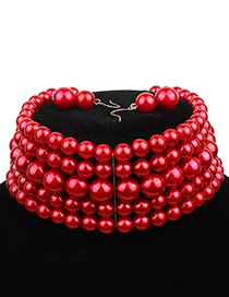 Elegant Red Pure Color Decorated Multilayer Choker
