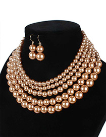 Elegant Coffee Pure Color Decorated Multilayer Jewelry Sets