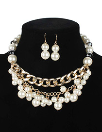 Vintage White Oval Shape Decorated Jewelry Sets