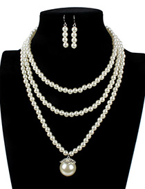 Elegant White Oval Shape Decorated Hollow Out Jewelry Sets