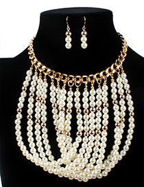 Vintage White Chain Decorated Jewelry Sets