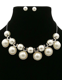 Elegant White Round Shape Decorated Jewelry Sets