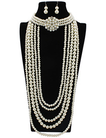 Exaggerate White Pure Color Decorated Multilayer Jewelry Sets