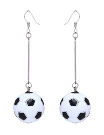 Fashion Silver Color Soccer Decorated Earrings